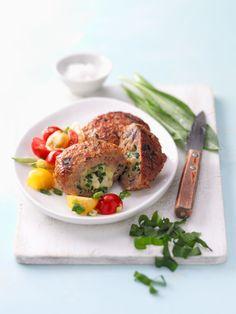 Gefüllte Bärlauchfrikadellen mit Mozzarella Catering Food, Eat Smarter, Salmon Burgers, Good Food, Low Carb, Mozzarella, Healthy Recipes, Snacks, Dishes