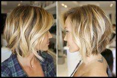 15 Trend Bob Hairstyles Ideas Summer is here and you want to get a haircut? Bob hairstyles Tiered back of the head are currently very trendy! They just look super elegant, i. Short Medium Length Hair, Short Hair Cuts, Medium Hair Styles, Curly Hair Styles, Short Wavy, Medium Long, Cool Short Hairstyles, Bob Hairstyles, Bob Haircuts