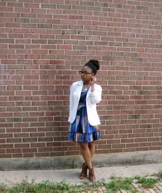 cobalt dress and white blazer 1 by ShenDove, via Flickr