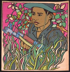 1971 Cuban Original POSTER.Rene Mederos Vietnam War.Guerrilla Fighter. Pop art #PopArt