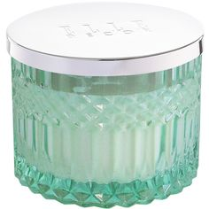 ELLE Décor Mint 11.5-Oz Faceted-Crystal Glass Candle & Metal Lid ($22) ❤ liked on Polyvore featuring home, home decor, candles & candleholders, scented candles, fragrance candles, crystal home decor, lighted home decor and lit candle