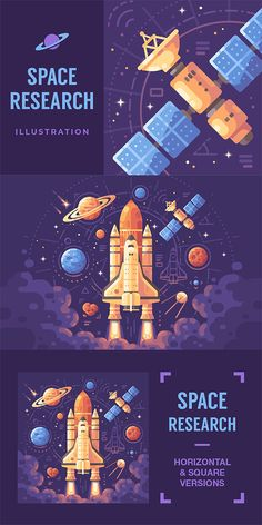 Colorful astronomy themed flat illustration space objects on a dark purple background space shuttle taking off planets stars asteroids and satellites vector nasa space shuttle lamp Abstract Illustration, Space Illustration, Flat Design Illustration, Gfx Design, Vector Design, Vector Art, Portfolio Webdesign, Dark Purple Background, Space And Astronomy