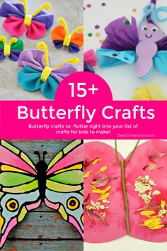Butterfly Crafts For Kids To Brighten Your Day! - Let these ideas flutter right into your list of crafts for kids to make! They are perfect for kids, preschoolers and the young at heart. So many ideas and DIYs to pick from! Rainy Day Crafts, Summer Crafts, Fun Crafts, Arts And Crafts, Paper Crafts, Craft Projects For Kids, Crafts For Kids To Make, Art For Kids, How To Make