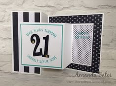 handmade birthday card from The Craft Spa  ... black and white with accents in aqua ... big numbers ... double Z fancy fold format ... luv it!