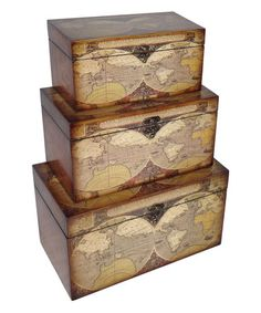 Loving this Map-Themed Wood Trunk Set on #zulily! #zulilyfinds