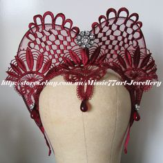 Medieval inspired Lace and rhinestone Tiara Crown: available in three colours - black, white and wine red from Missie77art Jewellery on ebay. Matching slave bracelet gloves also available.