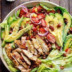 Honey Mustard Chicken, Avocado and Bacon Salad