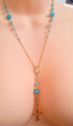 Aquamarine Gemstone 14 kt Gold Rosary by divinitycollection, $79.00