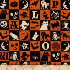 Halloween Masquerade Patchwork fabric by the yard -- perfect for a runner!