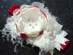 Couture Red and Ivory Baby Girl Flower Headband by lepetitejardin