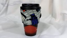 Hot Coffee sleeve made with Doctor Who Dalek fabric.