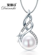 Dainashi 놀라운 가격 925 스털링 실버 보석 높은 품질 광택 천연 진주 보석 화이트/핑크 펜던트 선물 상자