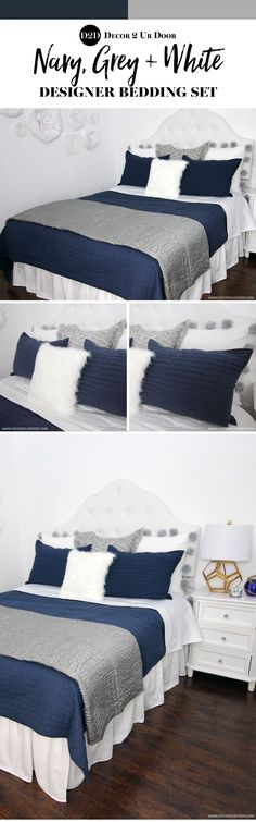 Masculine yet sweet. We adore this mixture of our grey sateen (super luxe) quilt paired with white and navy accents. We swoon over our exclusive handmade white with jumbo grey pompom euro pillow. Fur, pompoms, linen and texture. Blue Gray Bedroom, White Bedroom, Bedroom Colors, Master Bedroom, Bedroom Ideas, Diy Bedroom, Master Suite, Navy Bedding, Dorm Room Bedding