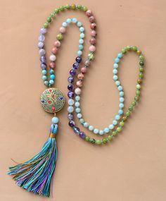 Jasper Nepal Long Tassel Necklace