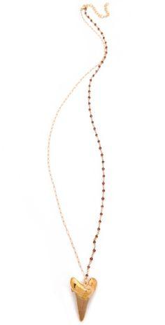Heather Hawkins Garnet Shark Tooth Necklace