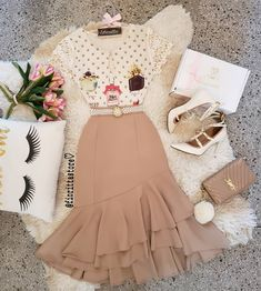 # light color by Cute Comfy Outfits, Classy Outfits, Pretty Outfits, Cool Outfits, Cute Skirts, Cute Dresses, Vintage Dresses, Beautiful Dresses, Cute Fashion