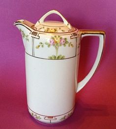 Nippon-Noritake-Coffee-Or-Tea-Pot-Hand-Painted-With-Gilding-Rising-Sun-TM
