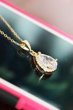 Cubic Zirconia Gold Crystal Drop Wedding by AuroraJewelryBox