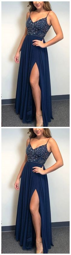 navy blue prom dresses, slit navy blue prom dresses, spaghetti strap navy blue navy blue prom dresses, slit navy blue prom dresses, spag by olesaweddingdresses, $134.29 USD Navy Blue Prom Dresses, Classy Prom Dresses, Sexy Dresses, Party Dresses, Dress Party, Formal Dresses, Fashion Dresses, Evening Party Gowns, Evening Dresses