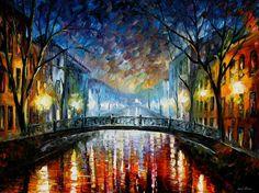 Artwork - Misty Bridge — Palette Knife Cityscape Modern Oil Painting On Canvas…