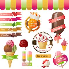 Different colored Ice cream vector 03