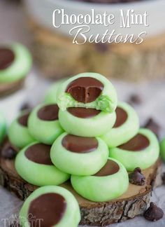 These Chocolate Mint Cream Cheese Buttons are perfect for all occasions! Lovely mint flavored cream cheese mints filled with a decadent chocolate ganache. Guaranteed to be a hit with your chocolate an (Sweet Recipes Cream Cheese) Menta Chocolate, Mint Chocolate Chips, Chocolate Flavors, Chocolate Ganache, Decadent Chocolate, Chocolate Cream, Chocolate Mints, Chocolate Mint Cookies, Mint Recipes