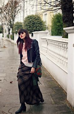 Who else could pull off this triple plaid mix but Natalie Off Duty?