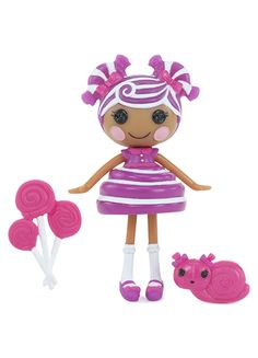 Mini Lalaloopsy™ Grapevine Stripes™ was made from a hard candy. She may seem a little sour at the beginning, but she is actually super sweet. She will always stick by her pals because she values long-lasting friendships!