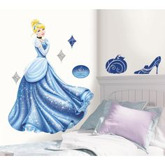 Large Cinderella wall decal is perfect for little girls rooms. Giant Wall sticker has glitter for extra sparkly effect. Pairs perfectly with other giant Disney Princess wall stickers. Removable and re positionable wall Cinderella Bedroom, Real Cinderella, Cinderella Theme, Cinderella Birthday, Princess Birthday, 7th Birthday, Disney Wall Decals, Kids Wall Decals, Wall Stickers Murals