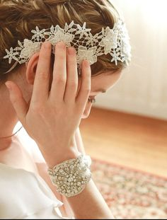 Wedding crystal wrist corsage bridal lace corsage by woomeeBridal