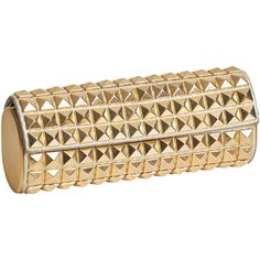 Pre-owned Jimmy Choo Gold Studded Tube Clutch (545 SGD) ❤ liked on Polyvore featuring bags, handbags, clutches, handbags and purses, brown handbags, evening clutches, evening handbags, gold studded purse and cocktail purse