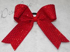 Cheer Bow Red Sequins by desarosebowtique on Etsy, $9.99