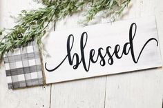 Wood Buffalo Plaid Blessed sign! Incorporate a bit of buffalo plaid into your decor with this handmade sign from Junque 2 Jewels. #buffaloplaid #junque2jewels #buffalocheck