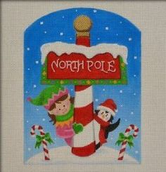 North Pole Sign #needlepoint #canvases #designs