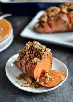Cinnamon Sugar Hasselback Sweet Potatoes with Oatmeal Cookie Crumble