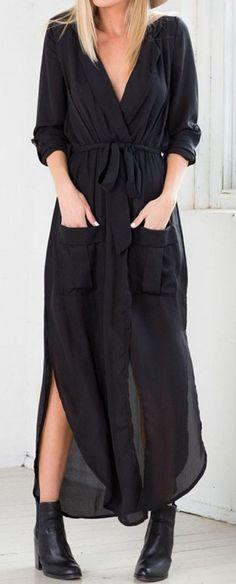 Black, Bow Tie, Side Split, Pocket, Wrap, Ruched Dress, Maxi Dress ==