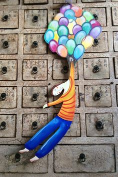 The boy and the balloons ! Beautiful  shape on wood to hang on your ceiling! One of a kind painted by me! di francescagreco1 su Etsy