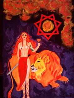 Our Lady of The Mojave Desert by Star Ruby, water painting over card board  Goddess Babalon,  Jack Parsons, Babalon Working, Thelema