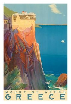Giclee Print: Greece - Mount of Athos - The Holy Mountain : 44x30in