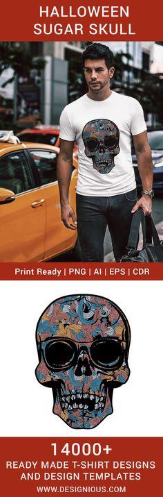 T-shirt design 328 - Colorful skull T Shirt Design Template, Design Templates, Colorful Skulls, Back To School Sales, How To Make Tshirts, Vector Format, Screenprinting, Heat Transfer Vinyl, Sign Design