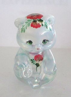 FENTON-ART-GLASS-FRENCH-OPALESCENT-IRIDIZED-BEAR-HAND-PAINTED-POPPIES-DAISIES
