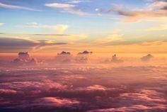 Výsledek obrázku pro sunset from above the clouds