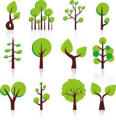 抽象的な新緑の樹のクリップ アート Abstract Green Trees Clip-art イラスト素材