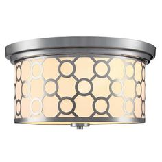 Home Decorator's Collection - 2 Light Flush Mount Ceiling Light 15 Inch - Chrome with White Fabric Shade - 15468-9 - Home Depot Canada $89.97