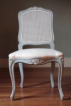 Louis XV Straight Cane Back Chair