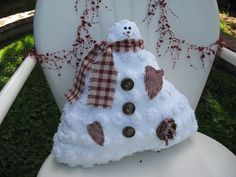 Snowman Stuffed White Big Puff Chenille with Country Red and Tan Christmas Decor Shelf Sitter Snowman Christmas Decorations, Christmas Ornament Crafts, Christmas Snowman, Christmas Stuff, Xmas, Chenille Quilt, Snowflake Craft, Snow Men, Sewing Crafts