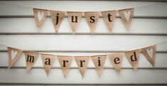 'Just Married' Burlap Bunting - Burlap Bunting, Just Married, Picnic, Wedding Decorations, Rustic, Vintage, Country Primitive, Picnics
