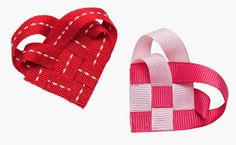 Craftside: How to Make a Woven Ribbon Heart from How to Make 100 Ribbon Embellishments by Elaine Schmidt