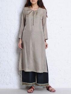 Buy Grey Brown Cutdana & Pintuck Detailed Habutai Silk Kurta Apparel Tunics Kurtas Oona Palazzos Chanderi Dupattas and Accessories Online at Jaypore.com Indian Ethnic, Indian Style, Kurtis Tops, Going Out Outfits, Indian Designer Wear, Indian Sarees, Indian Wear, Salwar Kameez, Indian Outfits