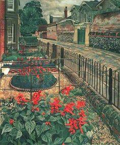 """[Painting] Stanley Spencer """"Gardens in the Pound"""" Cookham, Berkshire 1936 Stanley Spencer, Urban Landscape, Landscape Art, Landscape Paintings, Harlem Renaissance, Garden Illustration, Bristol, Glasgow, Art Deco"""
